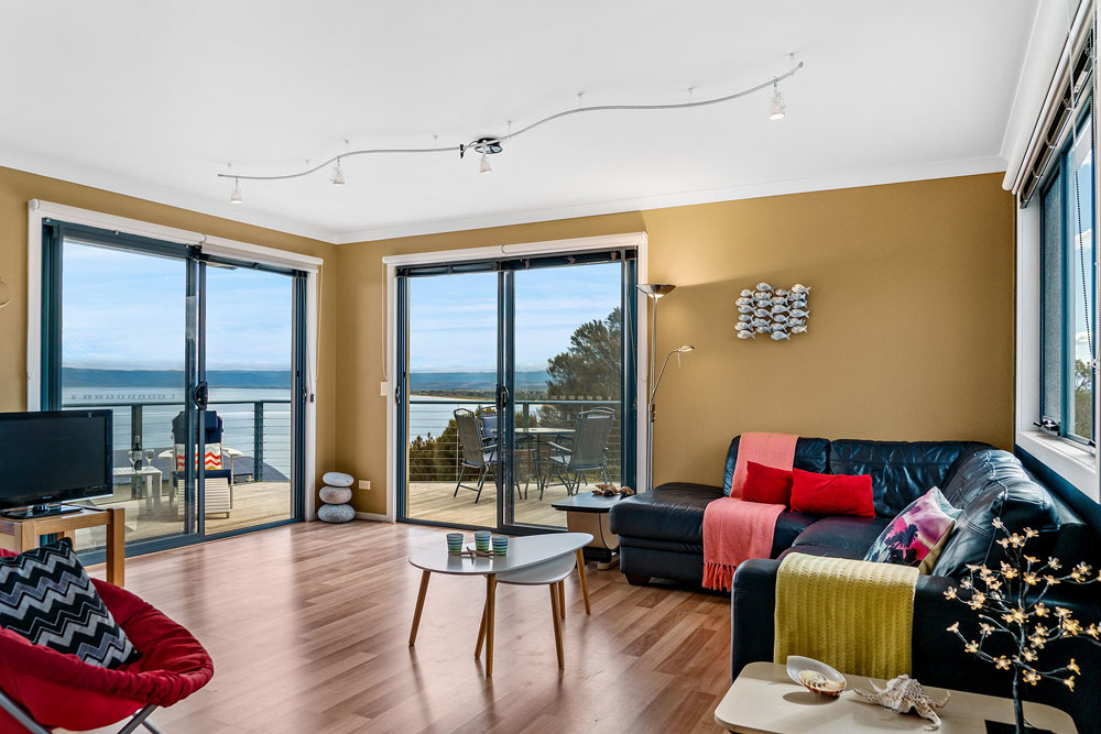 Coles Bay Holiday House - The Freycinet Dream - Living Room View to Great Oyster Bay